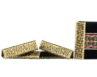 500pcs.  25mm or 1 inch - Antique Bronze No Loop Ribbon Clamp End Crimps - Artisan Series