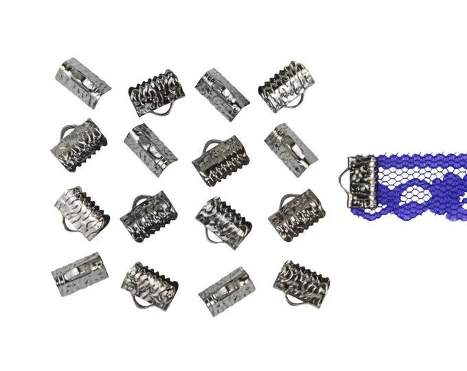 150pcs. 10mm or 3/8 inch Gunmetal  Ribbon Clamp End Crimps - with or without loop - Artisan Series