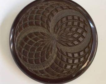 Vintage Plastic Large Button - Dark Brown with Carved Design