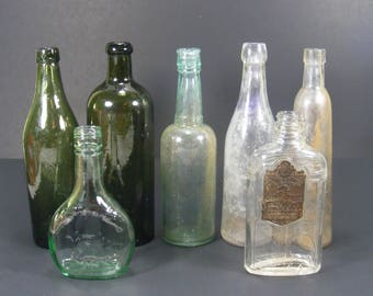 Old Glass Bottle Collection of 7 Vintage and Antique Glass Bottles Dark Green Blue/Green and Clear Old Bottles