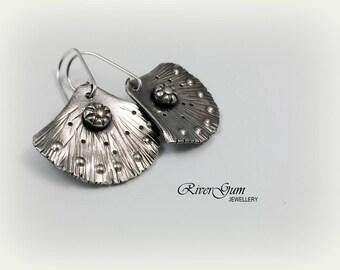 Argentium Sterling Silver Fan Earrings, Fan Earrings, Contemporary Earrings, Metalsmith Artisan Earrings