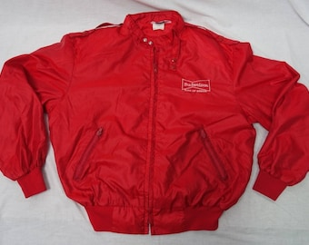 Vintage BUDWEISER BEER 80's Club Coat Truck Delivery Jacket Anheuser-Busch Members Only Nylon Style