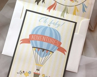 Hot Air Balloon Baby Shower Invitation, Adventure Invitation, Oh baby Invitation, Banner Bunting, Up and Away Baby Shower Invitation, Sample