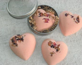 Bath Fizzy Heart Bath Bomb Rose Geranium Essential oil Gift Shower Favor Gift For Her