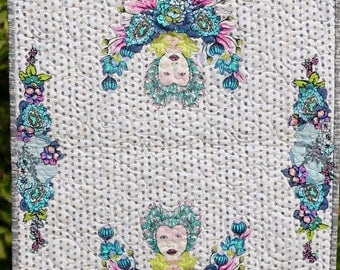 MarveLes Queen Elizabeth Modern Contemporary Table Runner  Topper Quilt Turquoise Grunge gray White dot background