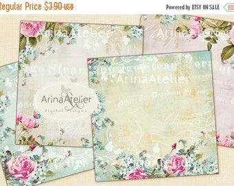 SALE - 30%OFF - Antique Flowers - coasters - 4 x 4 inch - set of 4 cards - digital Journaling Spots - Digital Download Sheet - Digital tags
