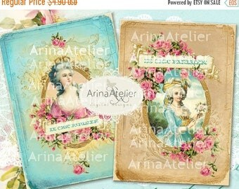 SALE - 30%OFF - CARDS Marie Antoinette - 5x7 inch - digital collage cards - printables collage - digital collage sheet - vintage tags - vint