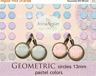SALE 30%OFF - Digital collage Circles Geometric MIX 13 mm - Digital Collage Sheet for 12 mm Earrings - Bottlecaps - Pendants - Magnets - But