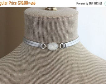 VACATION SALE- White Fire Opal Leather Choker AND/Or Bracelet. Choose From 9 Leather Colors