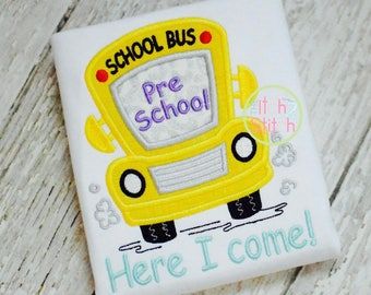 Back to School shirt  - School bus Applique Shirt - First day of school - Personalized  school shirt- All grades available