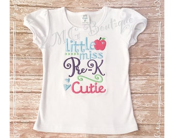 Back to School shirt  -Little Miss Cutie back to school Shirt -First day of school -  Pre k Personalized  school shirt- All grades available