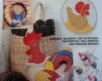 Vintage Sewing Pattern Chicken Kitchen Crafts - Centerpiece - Picture - Wreath - Refrigerator Magnets