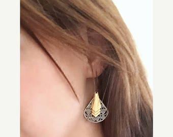 Art Deco Earrings, Brass Chevron Earrings, Geometric Earrings, Silver and Gold, Antiqued Silver Filigree Earrings, Gift for Her