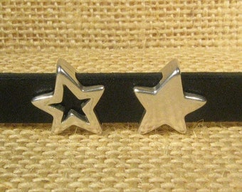 25% Off Star Sliders for 10mm Flat Leather - Antique Silver - SP87