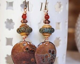 SALE Earthy Enamel Earrings, Brown Gypsy Earrings, Boho Chic Earrings, Rustic Teardrop Earrings, Artisan Enamel, Lampwork Glass Bead Earring