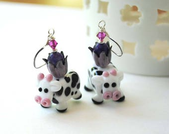 Spotted Cow Earrings, Farm Animal Earrings, Lampwork Earrings, Pink Purple Earrings, Whimsical Earrings, Dairy Cow Jewelry