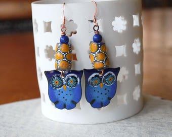 Blue Owl Earrings, Artisan Enamel Earrings, Woodland Earrings, Ethnic Earrings, Nature Inspired, Bird Earrings, Boho Chic, Owl Earrings