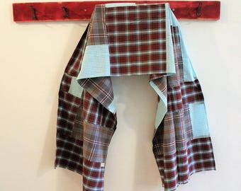Upcycled Cotton Shirts Scarf, Red Aqua Scrap Scarf and Wrap, Pojagi Scarf, Boro Scarf