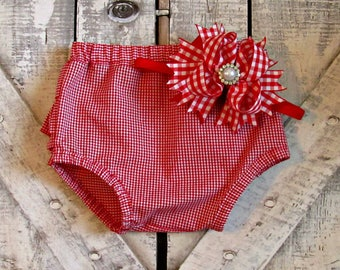 Baby Girls Red and White Gingham Ruffled Bloomers with Matching Headband- Ruffled Diaper Cover- Sizes 3 6 9 12 18 24 Months