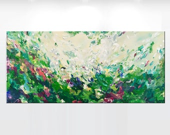 "LARGE Original abstract painting on canvas 'Aestus agri', 22x48"" ready to hang gallery fine art, green, beige, yellow, turquoise - OOAK"