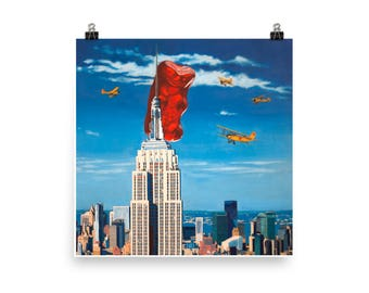 Gummy Kong - Art Print from original painting, realism, kitsch, movies, King Kong, humor, play, silly, nostalgia, film, funny, cinema, weird