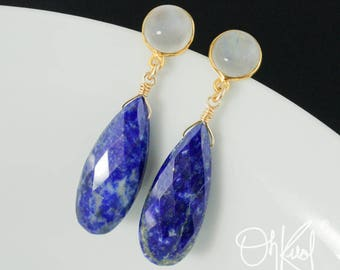 Gold Rainbow Moonstone & Blue Lapis Teardrop Earrings - Royal Blue Stone Earrings