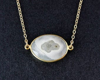 ON SALE Solar Quartz Necklace - 14k Gold Fill Chain