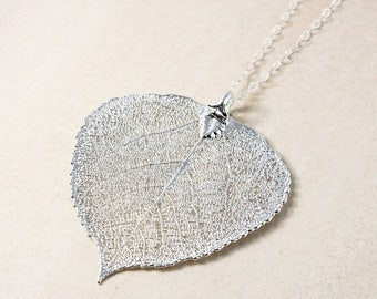 ON SALE Silver Dipped Aspen Leaf Necklace - Simple Chain - Layering Necklace