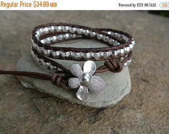 50% OFF SALE Fleur Silver Pewter Beaded Natural Leather Wrap Bracelet Storewide SALE 20 Percent off coupon code Sale20