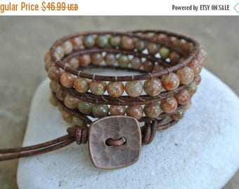 50% OFF SALE Copper Jasper Beaded Leather Wrap Bracelet