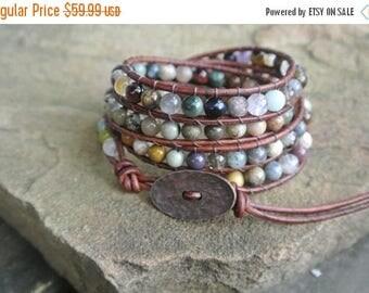 SALE 60% OFF Pomona Jasper Beaded Leather Wrap Bracelet