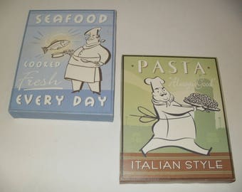 Italian Pasta Prints on Stretched Canvas -  Crafts, Art, Wall Hanging, Kitchen Art, Restaurant, Collectible