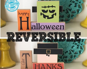 Reversible Halloween & Thanksgiving Blocks- Halloween Decor, Halloween Blocks, Halloween Sign, Thanksgiving Decor,Fall Decor,Reversible Sign