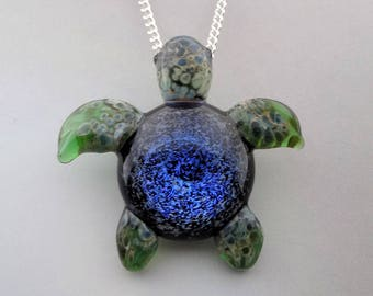 Blown Glass Sea Turtle Pendant ~ Ocean Vortex ~ Glass Turtle Pendant ~ Lampwork Focal Bead ~ Your Choice of Necklace Free (T7257B)