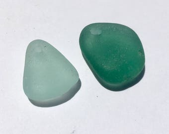 2 Drilled  Sea Glass  Pendants  (017)