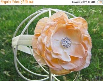 Peach Flower Headband - Peach Silk Rose w/ Crystal Center Pale Peach Headband or Hair Clip - The Camille - Baby Toddler Child Girls Headban