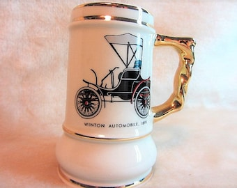 Mini Beer Stein Souvenir Henry Ford Museum Winton Automobile 1898, Antique Car Souvenir, Henry Ford Museum, Cup, Mug, Toothpick Holder