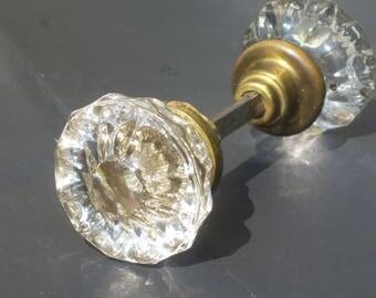Antique Glass /  Brass Door Knob Handle