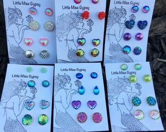 Deluxe Mermaid Earring Collection, Earring Set, Scale Earrings, Heart, Shell Earrings, Beach Bridesmaid, Mermaid Jewelry, Stud Post Set