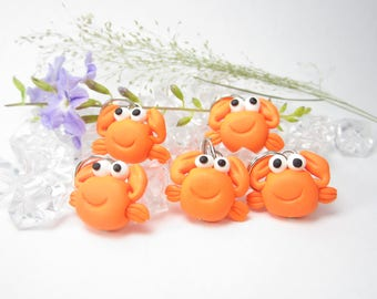 Crab Stitch Markers crab miniature animal polymer clay crab charm knitting accessories crab gifts for knitters women gift cute crab knit