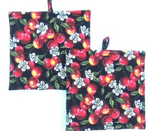 Delicious Bing Cherry Summertime Pot Holders Set of Two Quiltsy Handmade