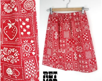 Cute Vintage 70s Red & White Strawberry Bandanna Cotton Skirt