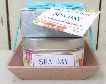 Spa Day Candle & Soap Dish Kit-  Green Daffodil