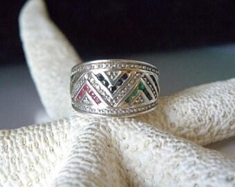 Vintage Sterling Silver 925 Channel Set Genuine Ruby Sapphire Emerald Chevron Ring