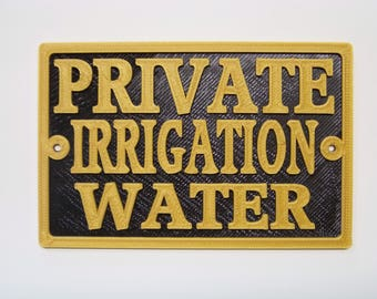 "Plastic 4""x 6"" Private Irrigation Water notice Plaque- Irrigation Sign"