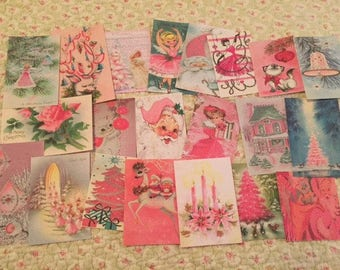 Christmas Pink Shabby Adorable Vintage Die Cuts/Gift Tags 42 Piece