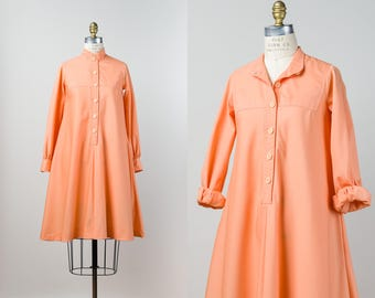 Vintage Tent Dress - 1970s Dress - 70s Designer Melon Peach Dress - Cotton Blend Long Sleeve Tunic Dress with Pockets by Joseph Ribkoff - XS