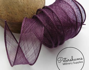 Hand Rolled Sinamay Ribbon Trim for Millinery, Hat Making & Fascinators - Plum Purple