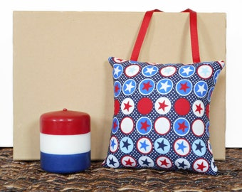 Patriotic Door Hanger Pillow Stars Polka Dots Americana Fourth of July Rustic Western Red White Blue Decorative