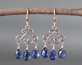 Kyanite Earrings - Bali Silver Earrings - Blue Gemstone Earrings - Blue Kyanite - Silver Wire Wrapped Earrings - Special Occasion - Gift